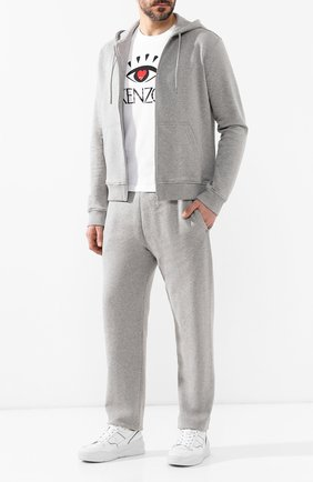 Мужская хлопковая толстовка KENZO серого цвета, арт. 5BL7224MD | Фото 2