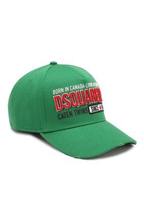 Мужской хлопковая бейсболка DSQUARED2 зеленого цвета, арт. BCM0199 08C00001 | Фото 1