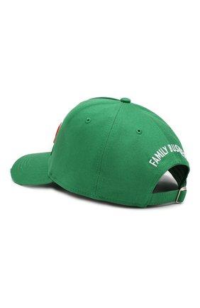 Мужской хлопковая бейсболка DSQUARED2 зеленого цвета, арт. BCM0199 08C00001 | Фото 2