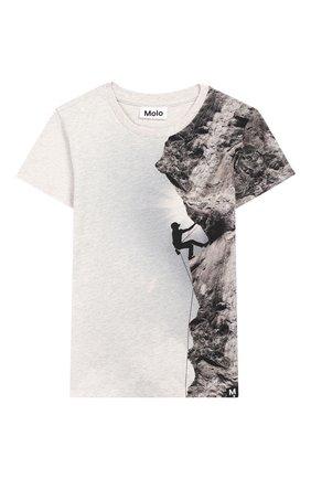 Детская хлопковая футболка raven MOLO серого цвета, арт. 1S19A225 | Фото 1