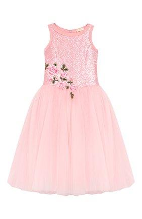 Детское платье-миди MONNALISA розового цвета, арт. 793906R3 | Фото 1