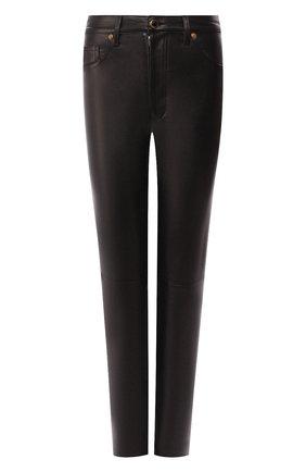 Кожаные брюки Khaite черные | Фото №1