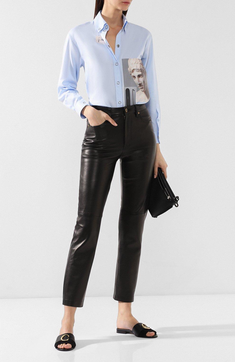 Кожаные брюки Khaite черные | Фото №2