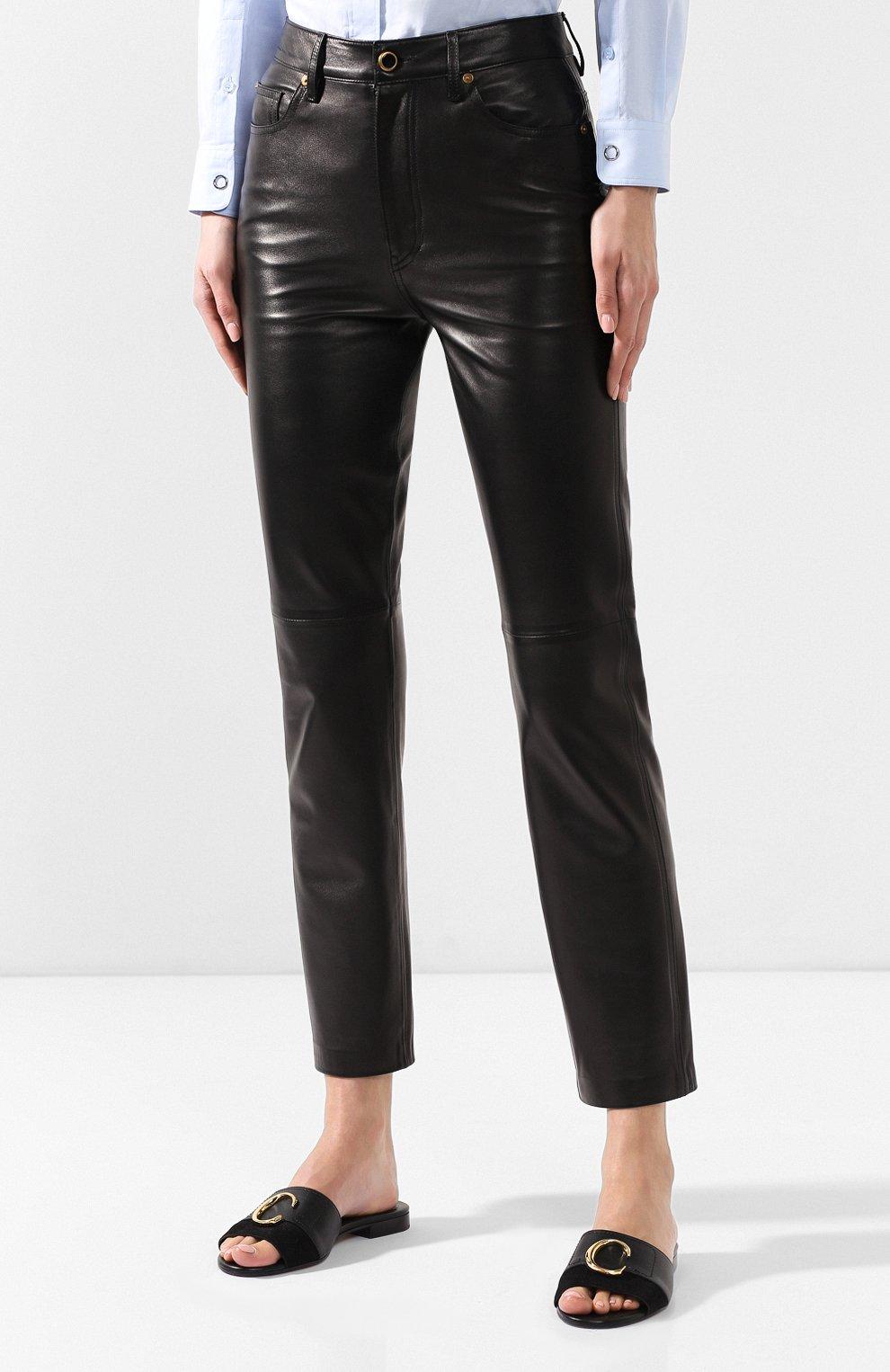 Кожаные брюки Khaite черные | Фото №3