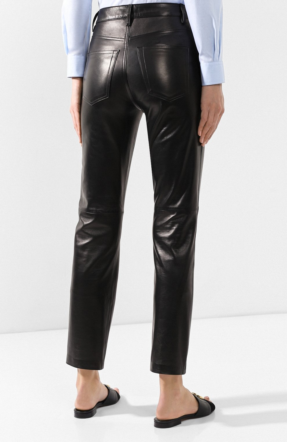 Кожаные брюки Khaite черные | Фото №4
