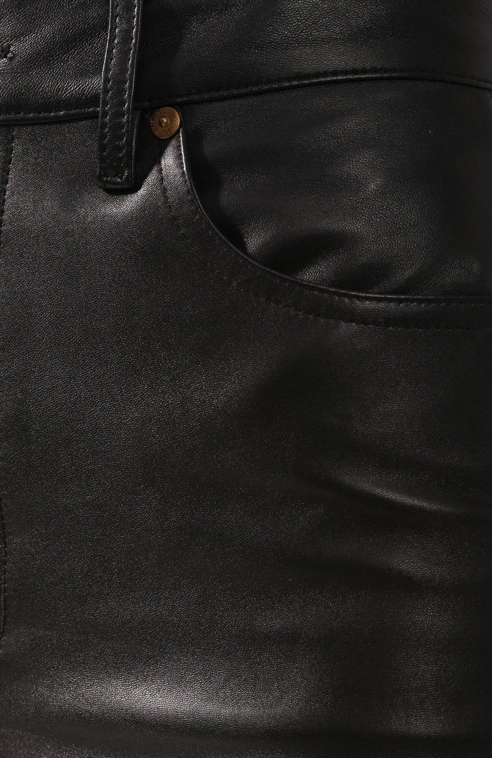 Кожаные брюки Khaite черные | Фото №5