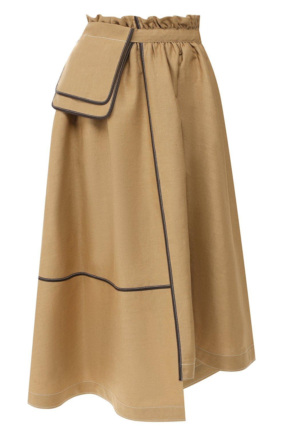 Женская юбка из смеси льна и вискозы LOEWE бежевого цвета, арт. S2195200R0   Фото 1 (Длина Ж (юбки, платья, шорты): Миди; Материал внешний: Лен; Статус проверки: Проверена категория)