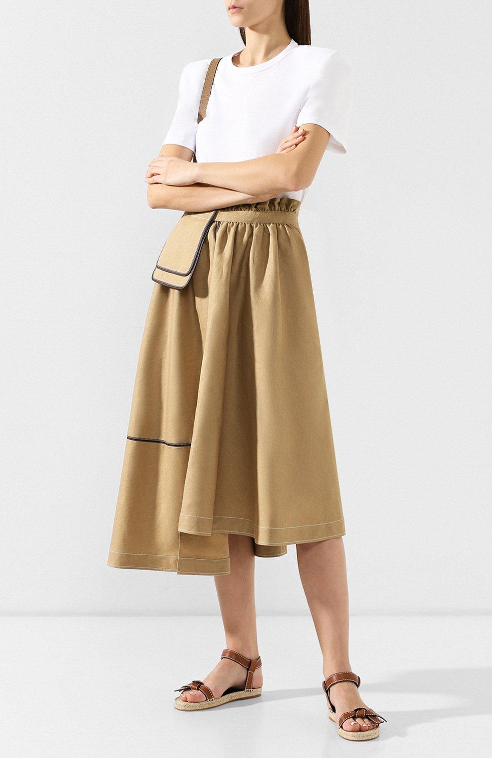 Женская юбка из смеси льна и вискозы LOEWE бежевого цвета, арт. S2195200R0   Фото 2 (Длина Ж (юбки, платья, шорты): Миди; Материал внешний: Лен; Статус проверки: Проверена категория)