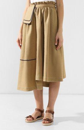 Женская юбка из смеси льна и вискозы LOEWE бежевого цвета, арт. S2195200R0   Фото 3 (Длина Ж (юбки, платья, шорты): Миди; Материал внешний: Лен; Статус проверки: Проверена категория)