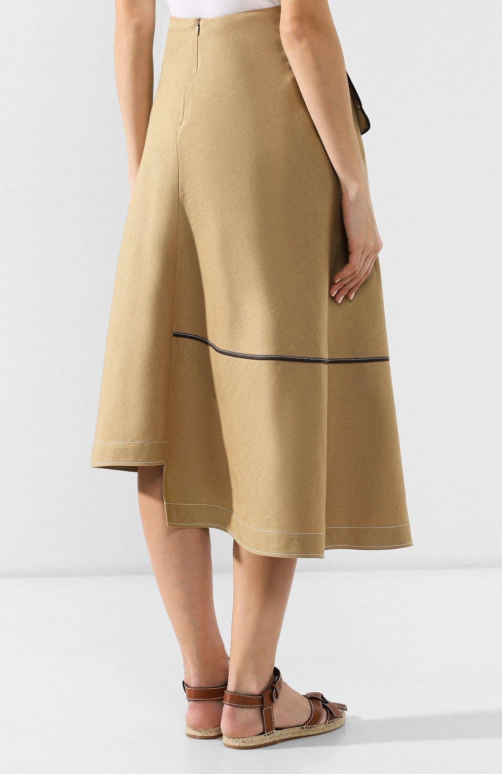 Женская юбка из смеси льна и вискозы LOEWE бежевого цвета, арт. S2195200R0   Фото 4 (Длина Ж (юбки, платья, шорты): Миди; Материал внешний: Лен; Статус проверки: Проверена категория)