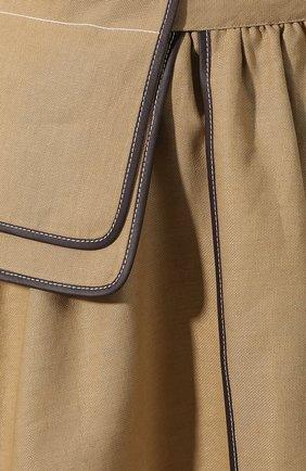 Женская юбка из смеси льна и вискозы LOEWE бежевого цвета, арт. S2195200R0   Фото 5 (Длина Ж (юбки, платья, шорты): Миди; Материал внешний: Лен; Статус проверки: Проверена категория)