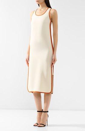 Шелковое платье Loro Piana кремовое | Фото №3