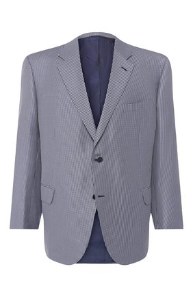 Мужской пиджак из смеси шерсти и шелка BRIONI синего цвета, арт. RGI30M/P8A0P | Фото 1