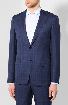 Мужской костюм из смеси шерсти и шелка BRIONI синего цвета, арт. RAI30W/P8A13/PARLAMENT0 | Фото 2