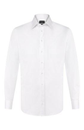 Мужская хлопковая сорочка с воротником кент GIORGIO ARMANI белого цвета, арт. 8WGCCZMR/TZ262 | Фото 1