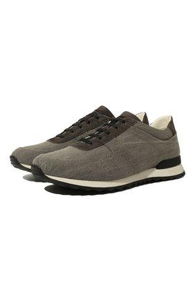 Мужские текстильные кроссовки KITON темно-серого цвета, арт. USSSASHN00196 | Фото 1