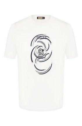 Мужская хлопковая футболка  ZILLI белого цвета, арт. MER-NT530-JEWI1/MC01   Фото 1
