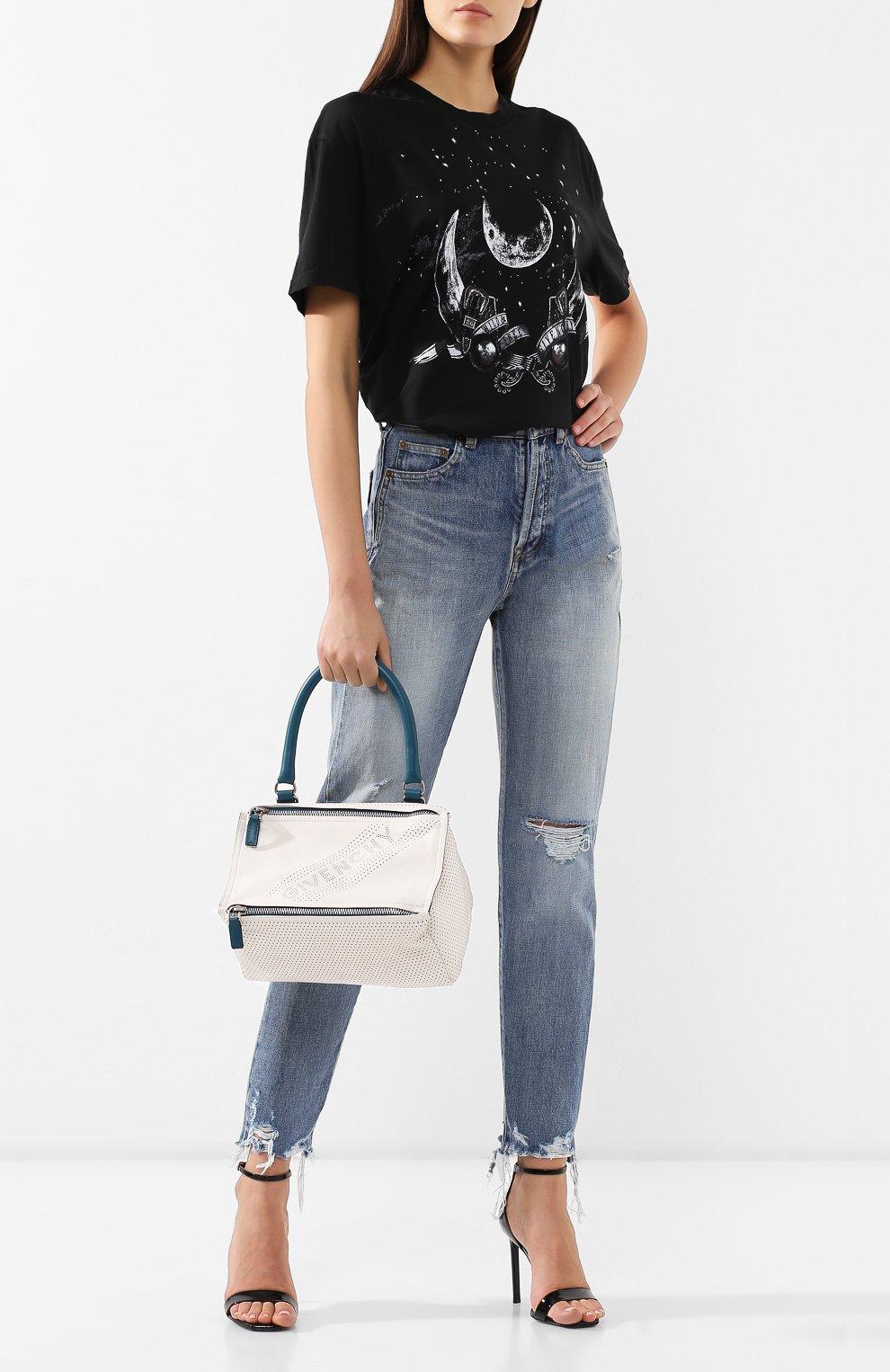 Кожаная сумка Pandora small Givenchy белая цвета | Фото №2
