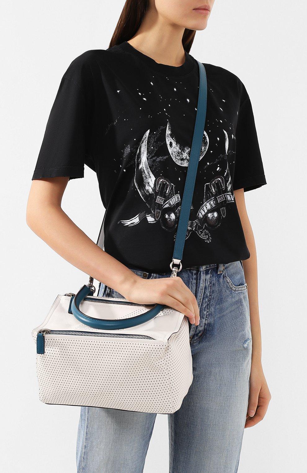Кожаная сумка Pandora small Givenchy белая цвета | Фото №5