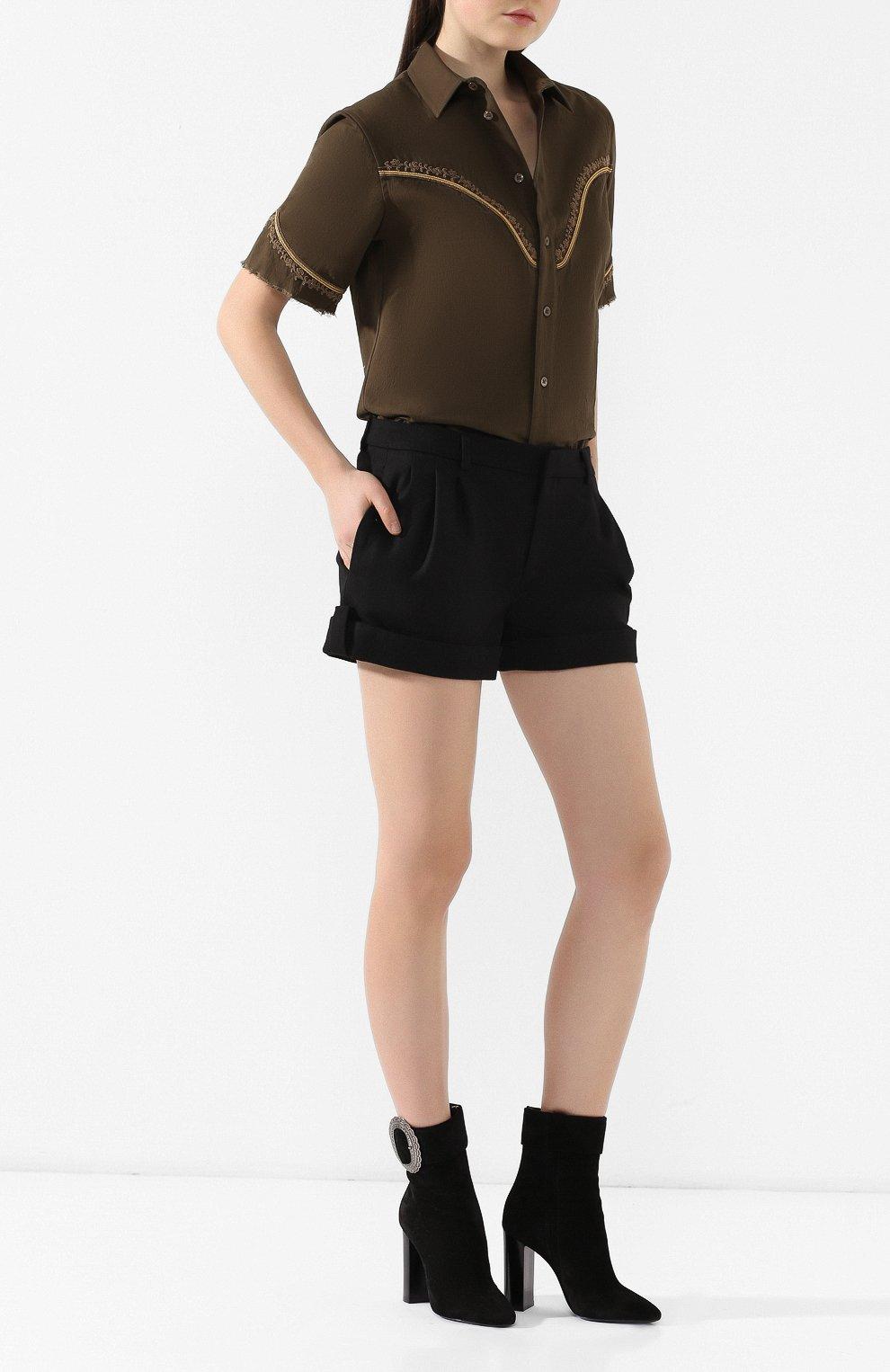 Женские замшевые ботильоны joplin SAINT LAURENT черного цвета, арт. 551804/BT300   Фото 2