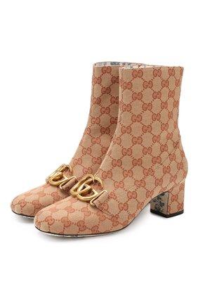 Ботильоны Victoire на устойчивом каблуке Gucci бежевые | Фото №1