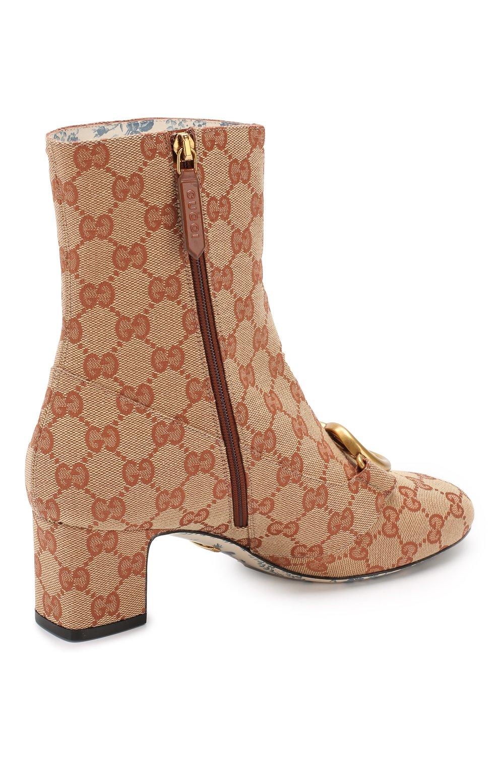 Ботильоны Victoire на устойчивом каблуке Gucci бежевые | Фото №4