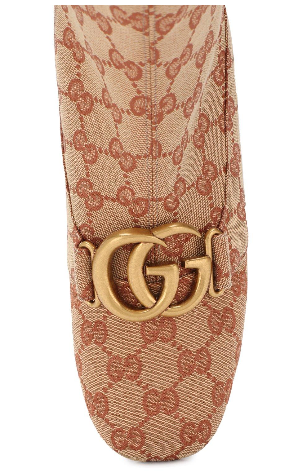 Ботильоны Victoire на устойчивом каблуке Gucci бежевые | Фото №5