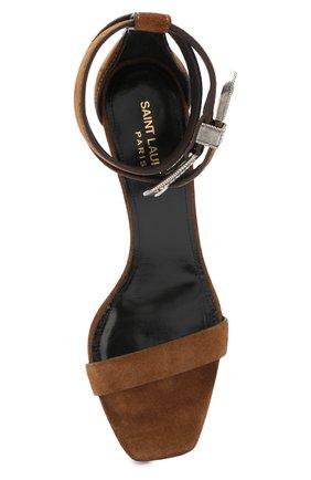 Замшевые босоножки Mica Saint Laurent коричневые | Фото №5
