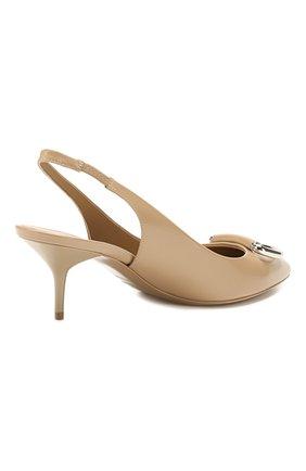 Кожаные туфли Burberry бежевые | Фото №4