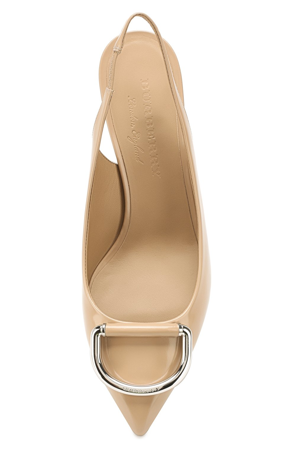 Кожаные туфли Burberry бежевые | Фото №5