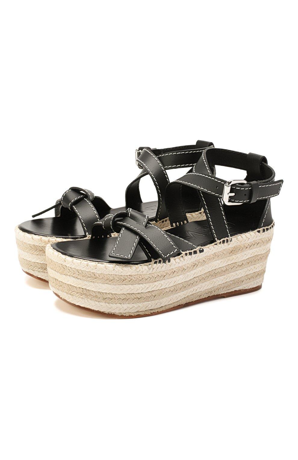 Кожаные сандалии Gate Loewe черные | Фото №1
