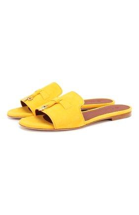 Женские замшевые шлепанцы summer charms LORO PIANA желтого цвета, арт. FAI5580 | Фото 1