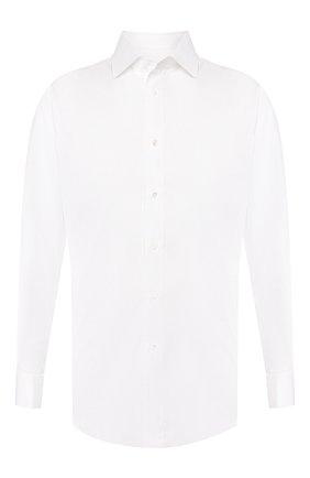 Мужская хлопковая сорочка с воротником кент BRIONI белого цвета, арт. RCLU2T/P804G | Фото 1