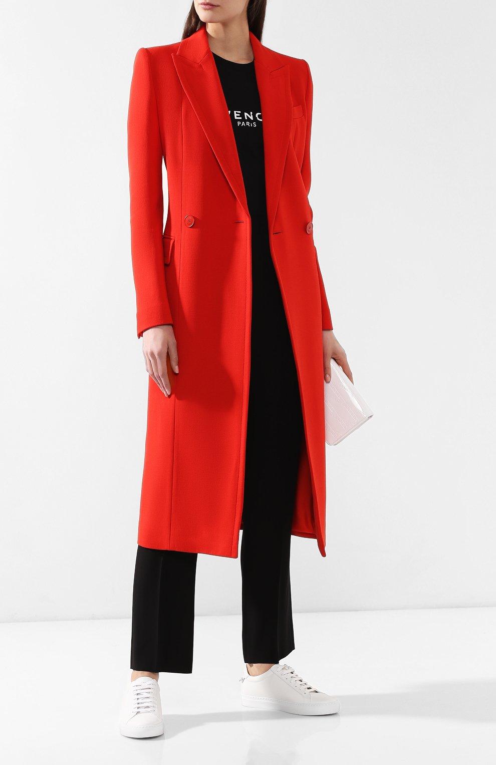 Женское шерстяное пальто GIVENCHY красного цвета, арт. BWC04011E1 | Фото 2