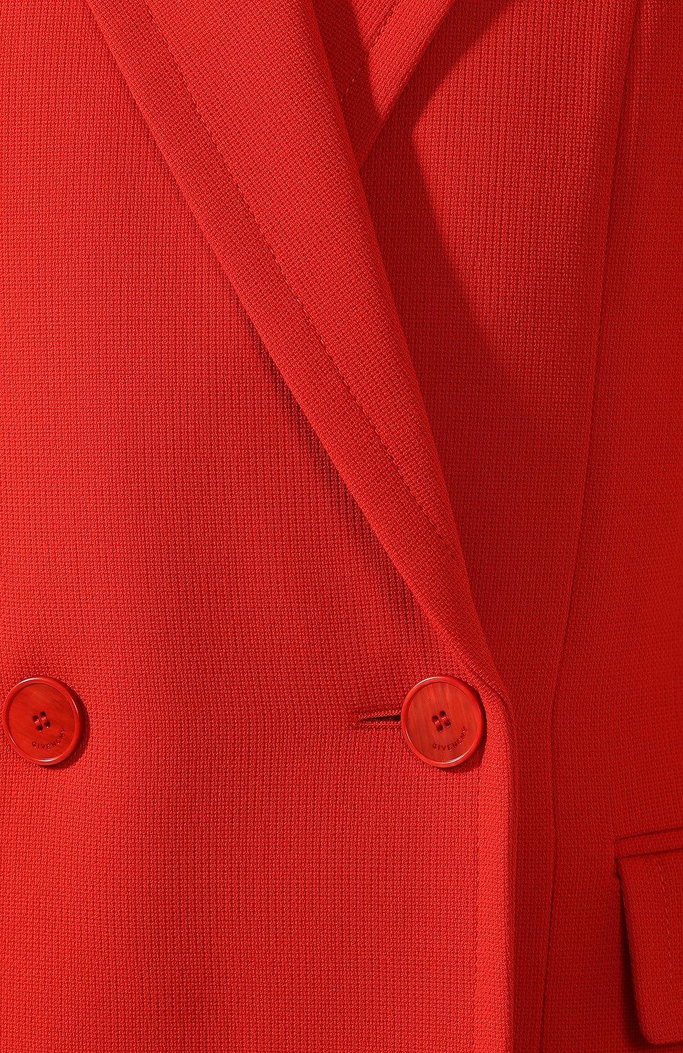 Женское шерстяное пальто GIVENCHY красного цвета, арт. BWC04011E1 | Фото 5