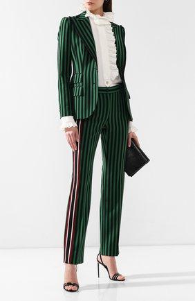 Женские брюки в полоску DOLCE & GABBANA зеленого цвета, арт. FTBF0T/HSMYQ | Фото 2