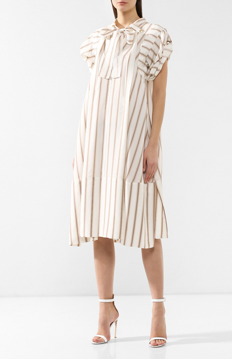 Шелковое платье Chloé бежевое | Фото №3