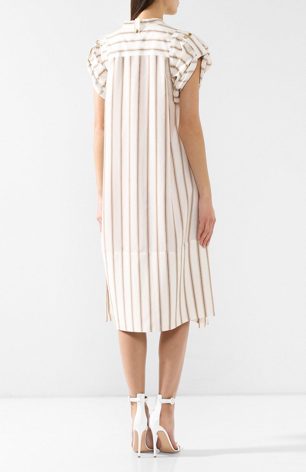 Шелковое платье Chloé бежевое | Фото №4