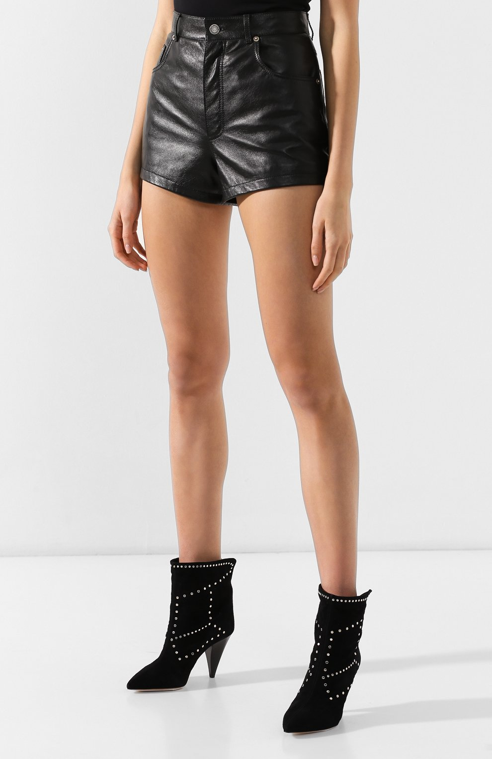 Женские кожаные шорты SAINT LAURENT черного цвета, арт. 561313/YC2UE | Фото 3