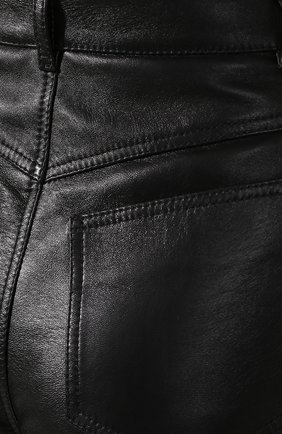 Женские кожаные шорты SAINT LAURENT черного цвета, арт. 561313/YC2UE | Фото 5