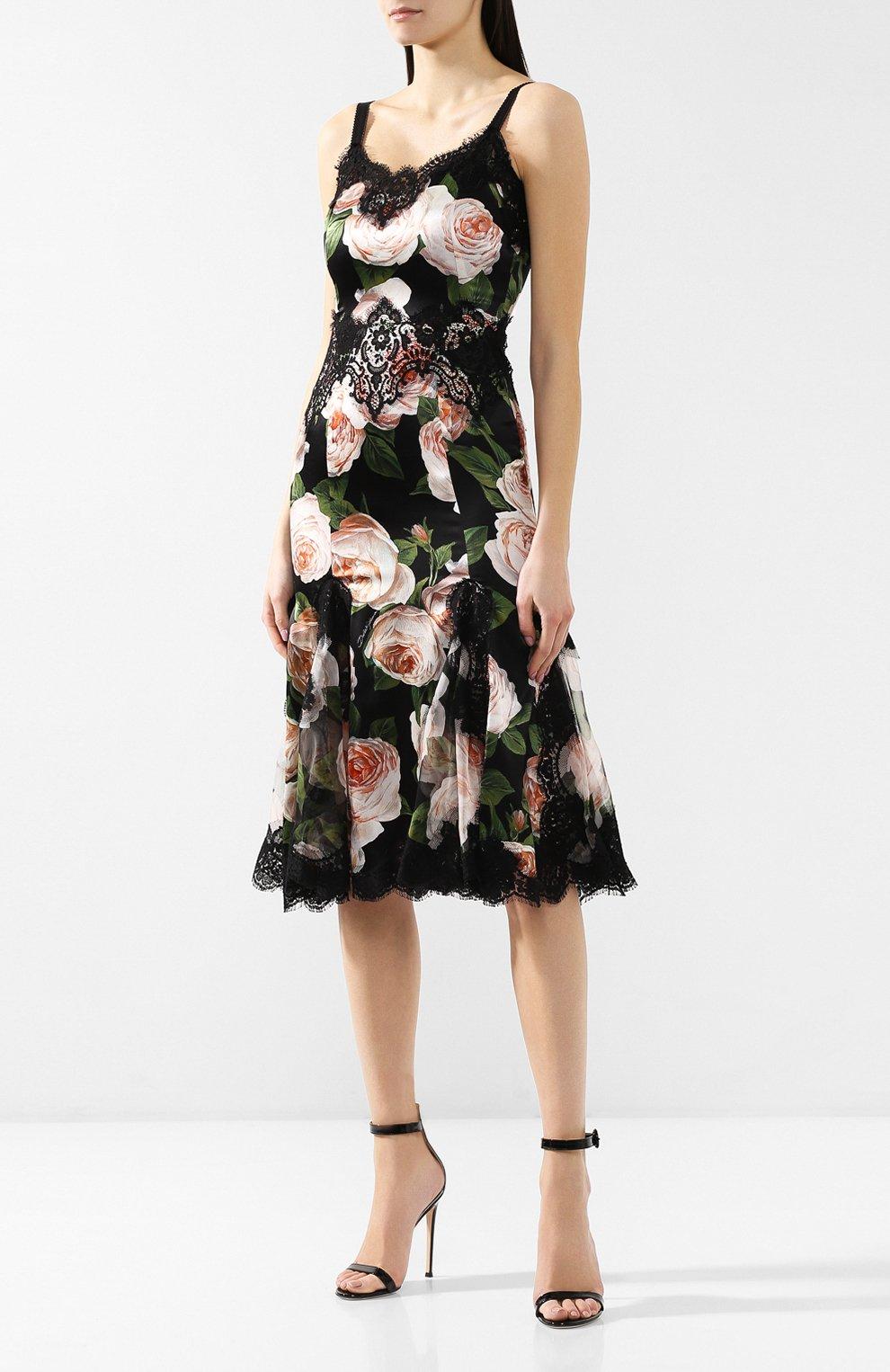 Платье с принтом Dolce & Gabbana разноцветное   Фото №3