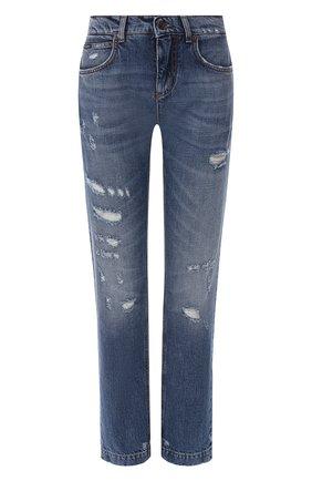 Женские джинсы с потертостями DOLCE & GABBANA голубого цвета, арт. FTBI2Z/G8X99 | Фото 1