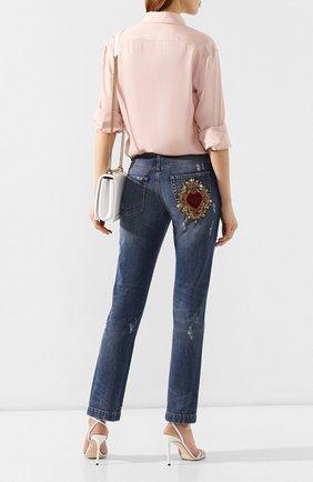 Женские джинсы с потертостями DOLCE & GABBANA голубого цвета, арт. FTBI2Z/G8X99 | Фото 2