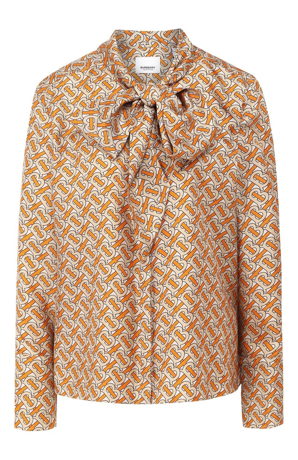 Женская шелковая блузка BURBERRY оранжевого цвета, арт. 4560930 | Фото 1