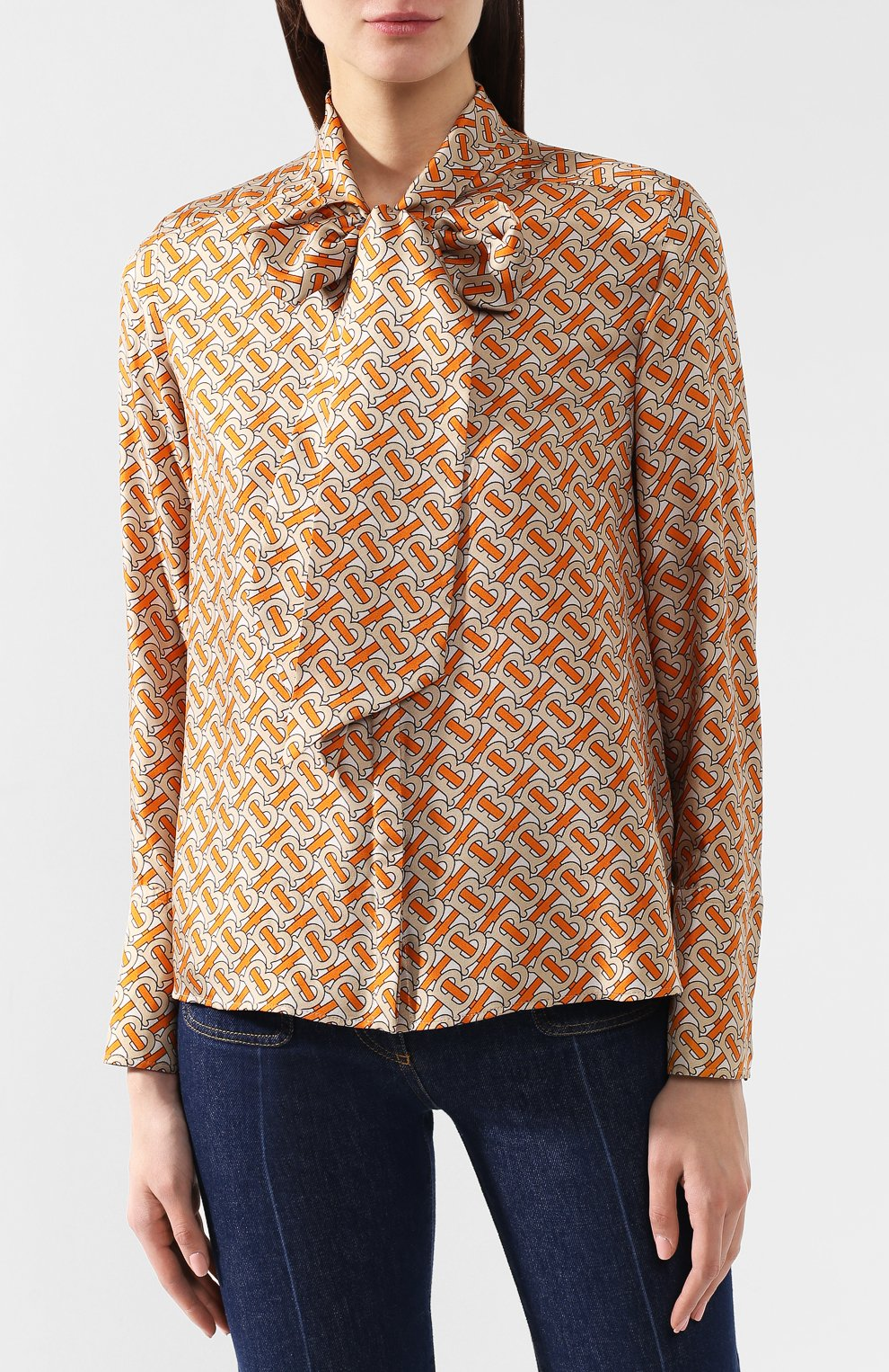 Женская шелковая блузка BURBERRY оранжевого цвета, арт. 4560930 | Фото 3