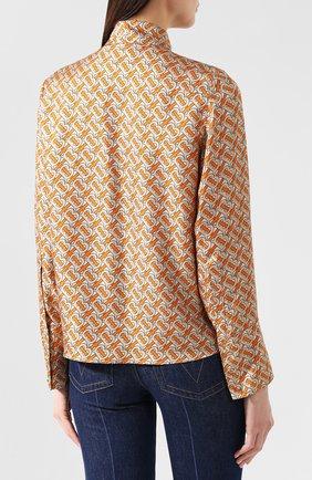 Женская шелковая блузка BURBERRY оранжевого цвета, арт. 4560930 | Фото 4