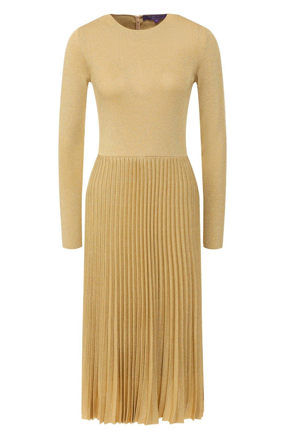 Платье из вискозы Ralph Lauren золотое   Фото №1