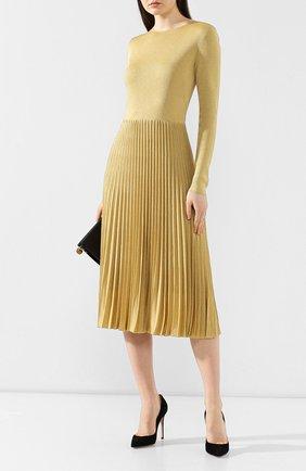Платье из вискозы Ralph Lauren золотое   Фото №2