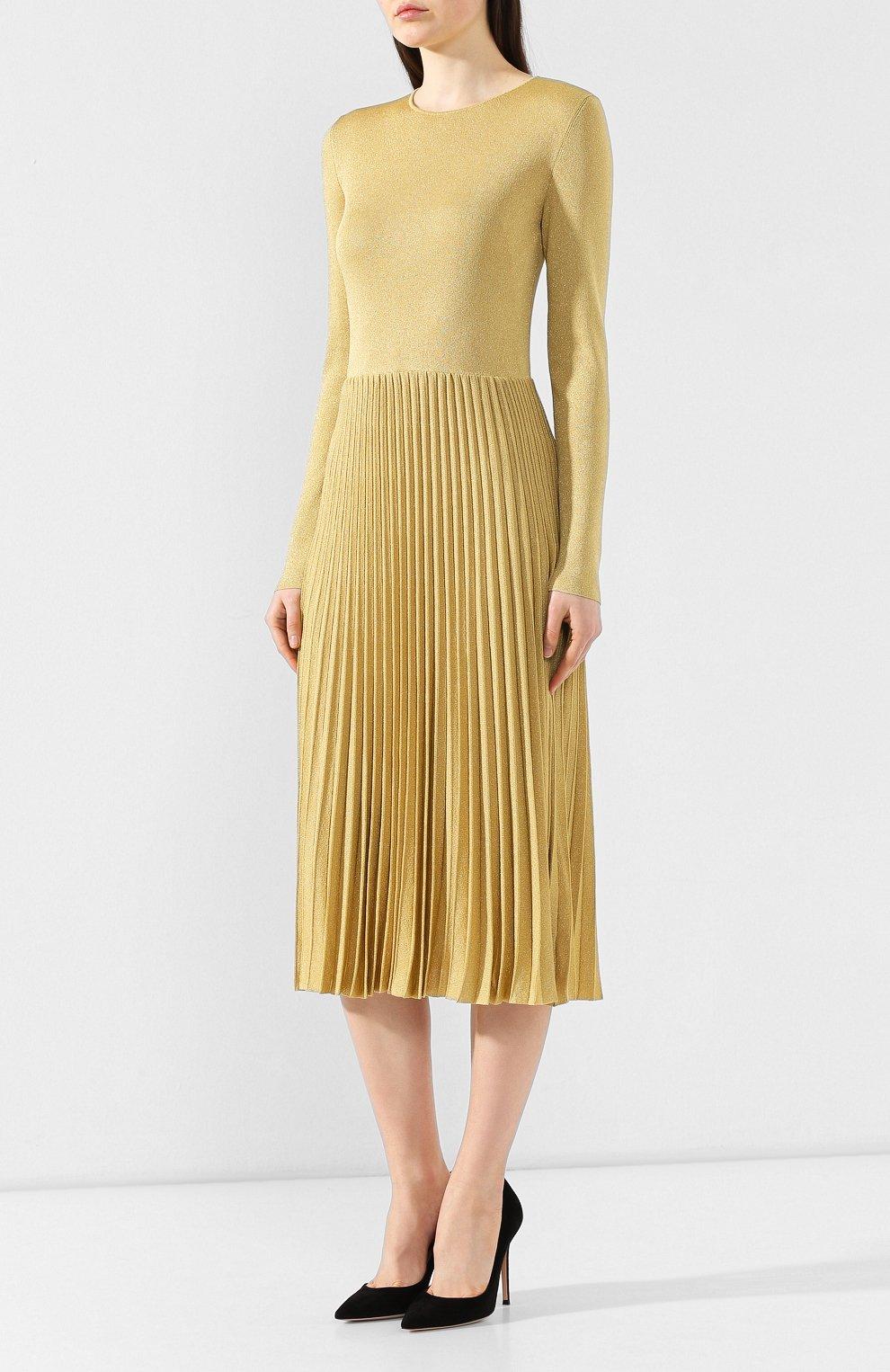 Платье из вискозы Ralph Lauren золотое   Фото №3