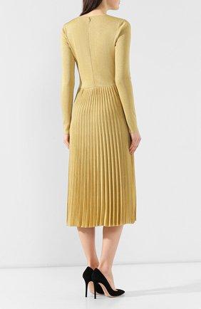 Платье из вискозы Ralph Lauren золотое   Фото №4